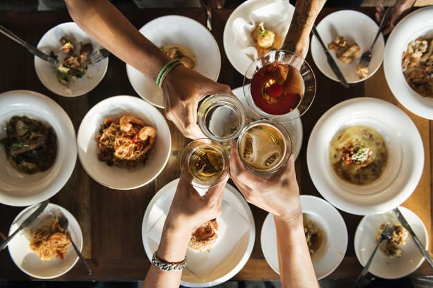 A toast over a dinner